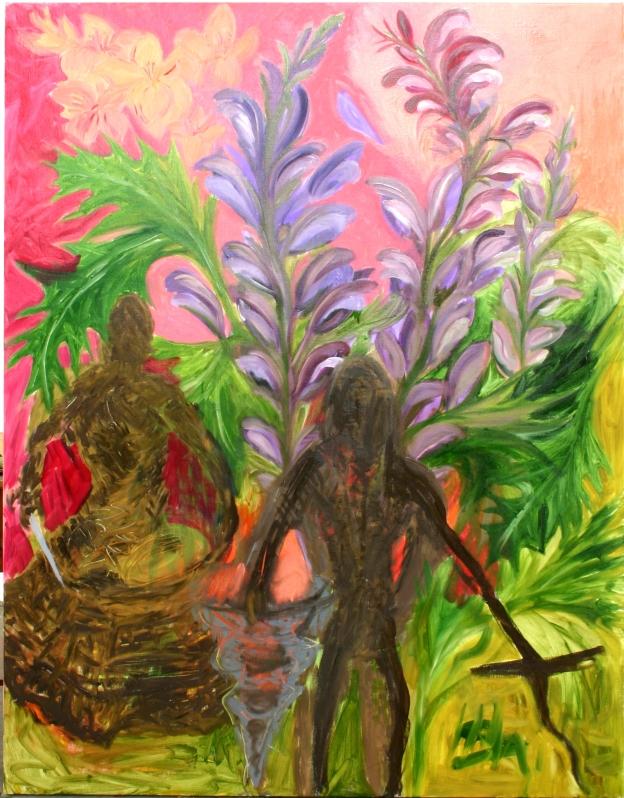 2 to mærkelige skikkelser i blomsterhaven
