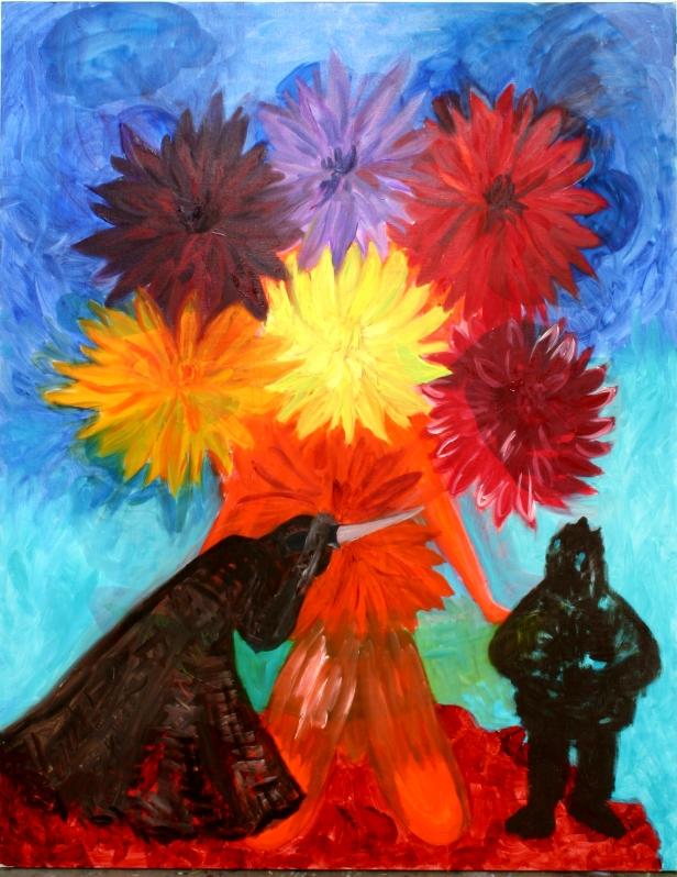 3 to mærkelige skikkelser i blomsterhaven
